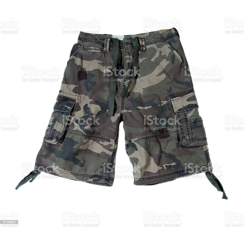 Camouflage Pattern Cargo Shorts - Isolated on White Background royalty-free stock photo