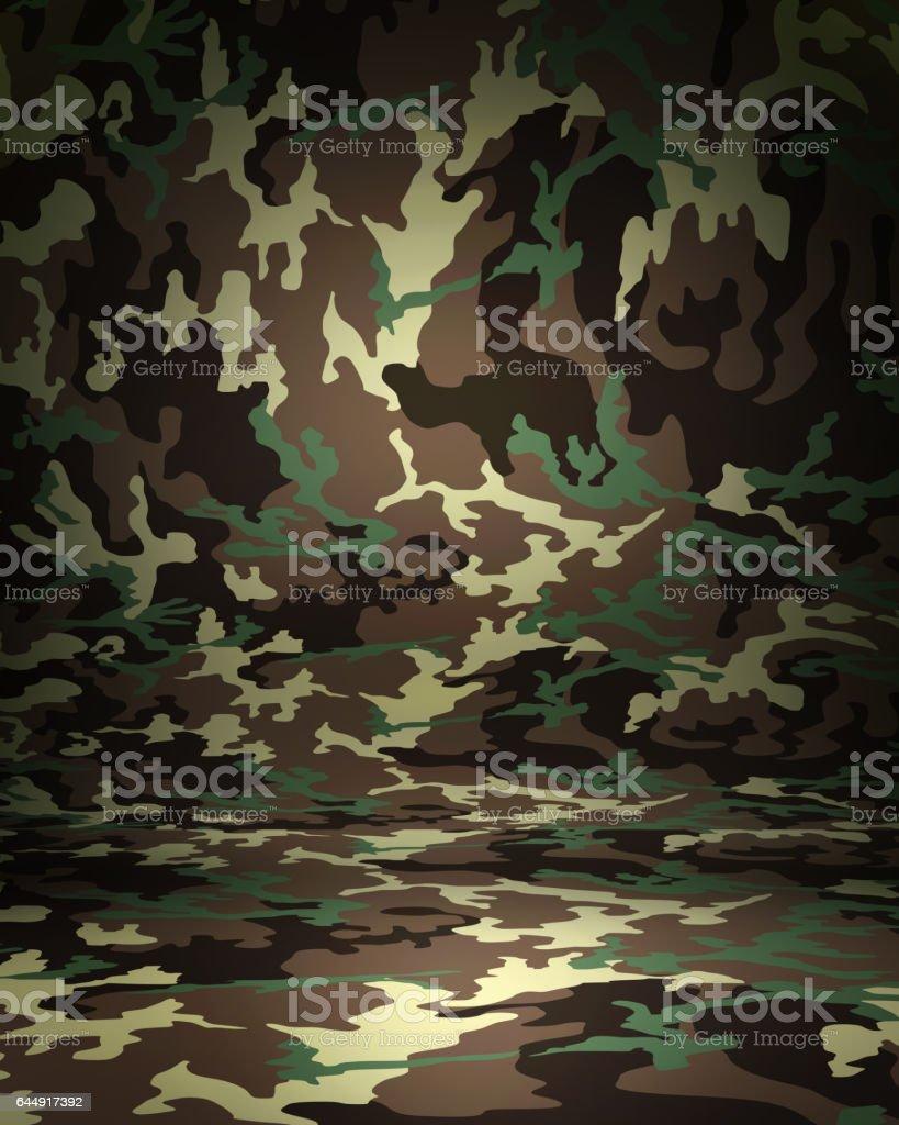 Camouflage studio portrait backdrop with floor. 3d rendering stock photo