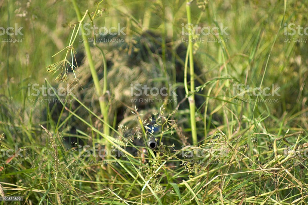 Camouflaged Sniper royalty-free stock photo