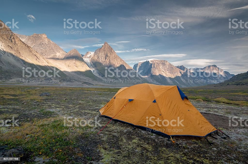 Camp 1 on the way to Mt Thor, Nunavut, Canada. stock photo
