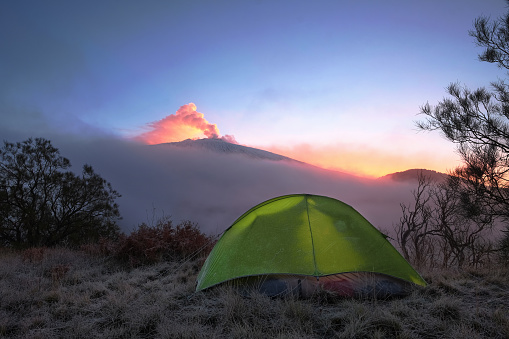 istock Camp And Etna Volcano At Dawns, Siciliy 835922998