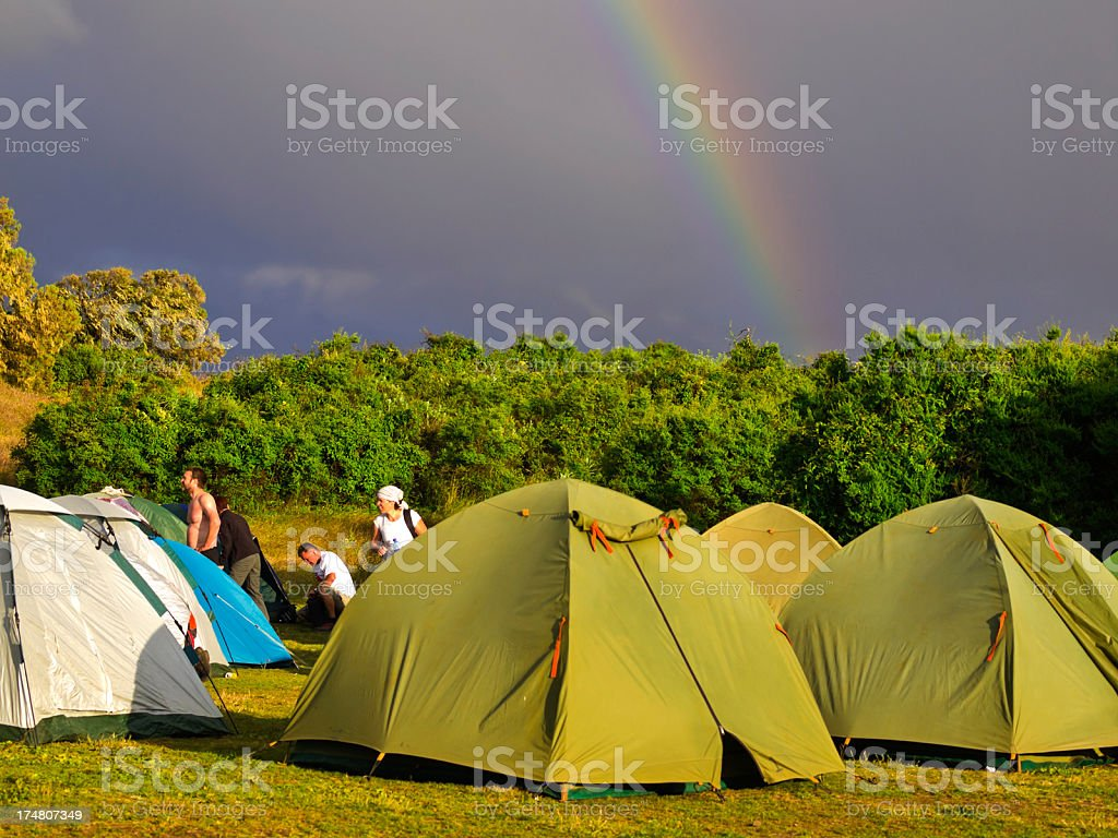 Camp and Rainbow royalty-free stock photo