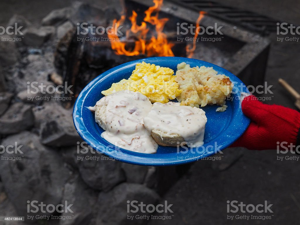 Camp Breakfast stock photo