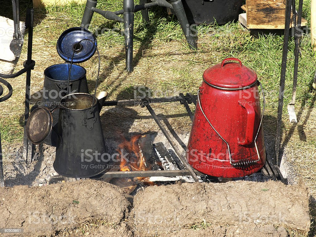 Camp Cooking stock photo