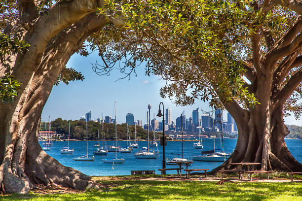 Camp Cove Beach View of Sydney Australia stock photo