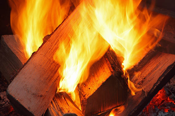 Camp fire ablaze More Canoeing Countryside ablaze stock pictures, royalty-free photos & images