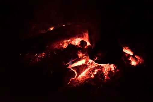 camp fire , bonfire burning in dark