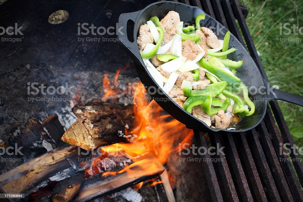 Camp Fire Cooking royalty-free stock photo