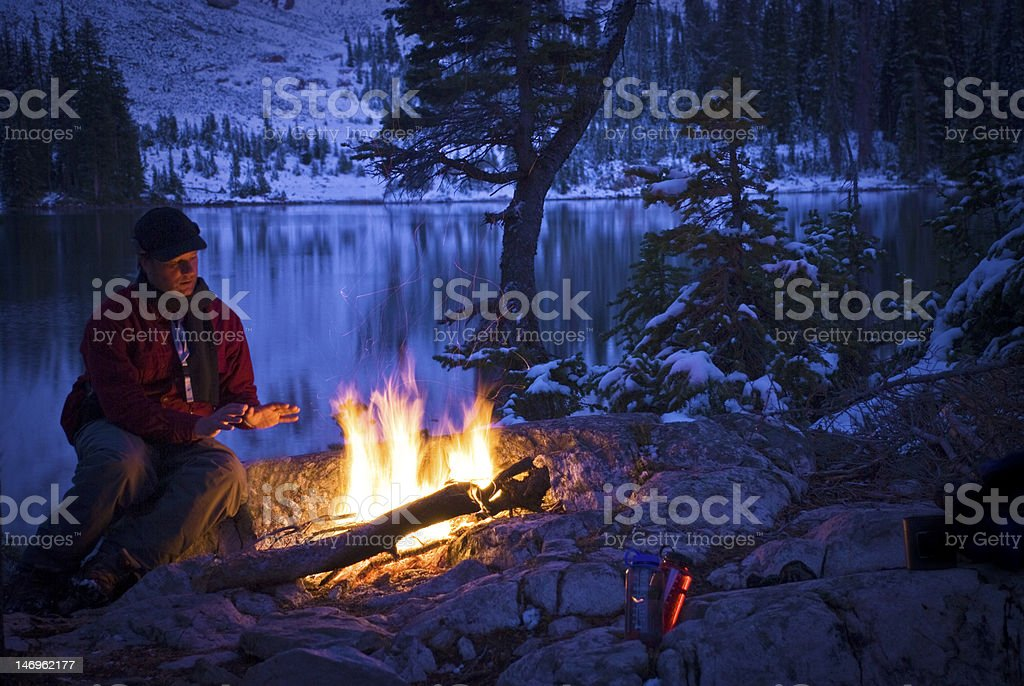 Camp Fire First Snow royalty-free stock photo