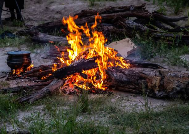 Camp fire in the wilderness of Botswana stock photo