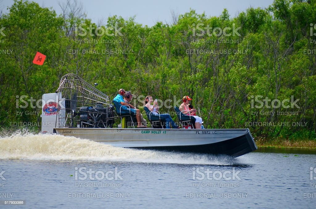 Camp Holly airboat ride St. Johns River in Florida stock photo