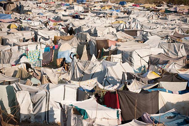 IDP Camp in Haiti stock photo