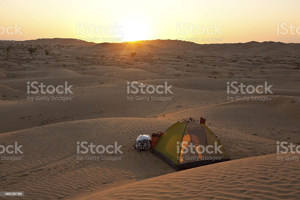 Camp in the desert stock photo