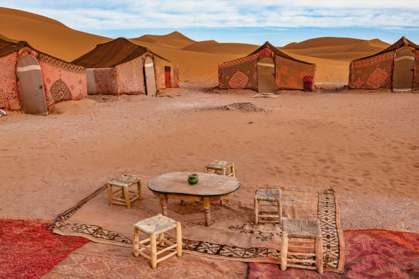 Camp in the morning in the desert Mhamid,Zagora, Morocco,North Africa stock photo