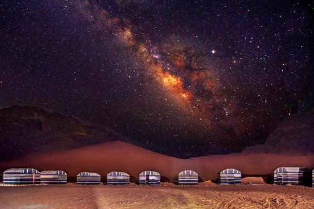 A camp in Wadi Rum desert at night with milky way, Jordan. stock photo