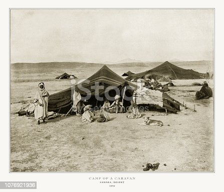 Antique African Photograph: Camp of a Caravan on the Sahara Desert, Africa, 1893. Source: Original edition from my own archives. Copyright has expired on this artwork. Digitally restored.