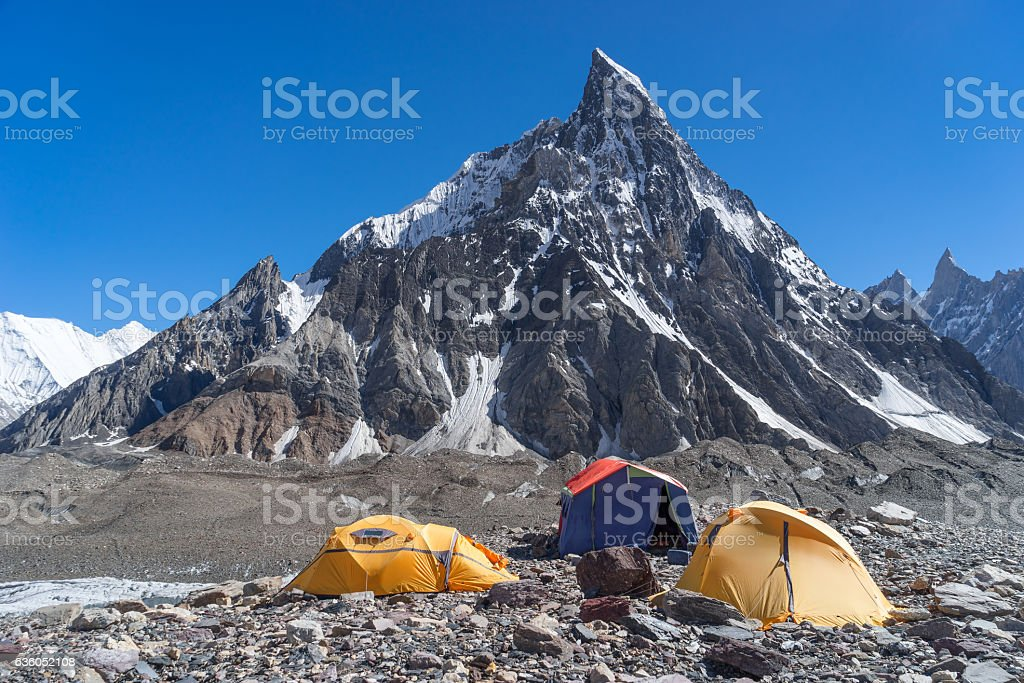 Camp site at Concordia camp with Mitre peak, K2 trek, Pakistan stock photo