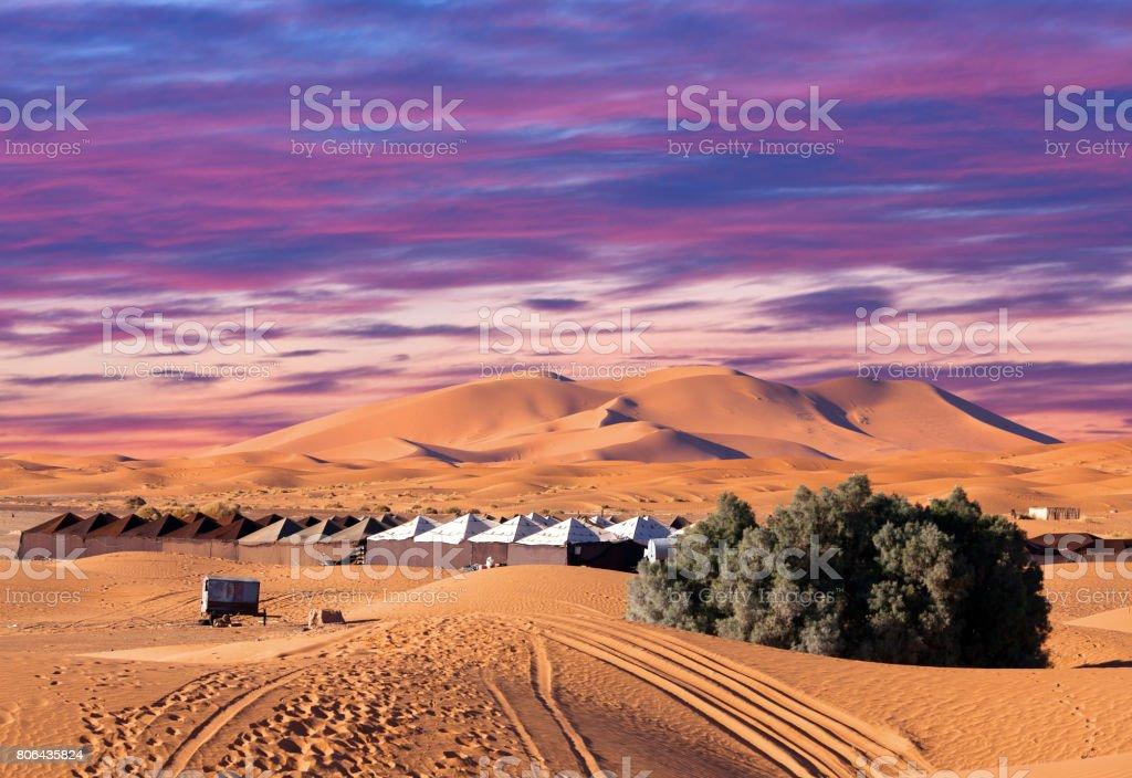 Camp site over sand dunes in Sahara desert, Africa stock photo