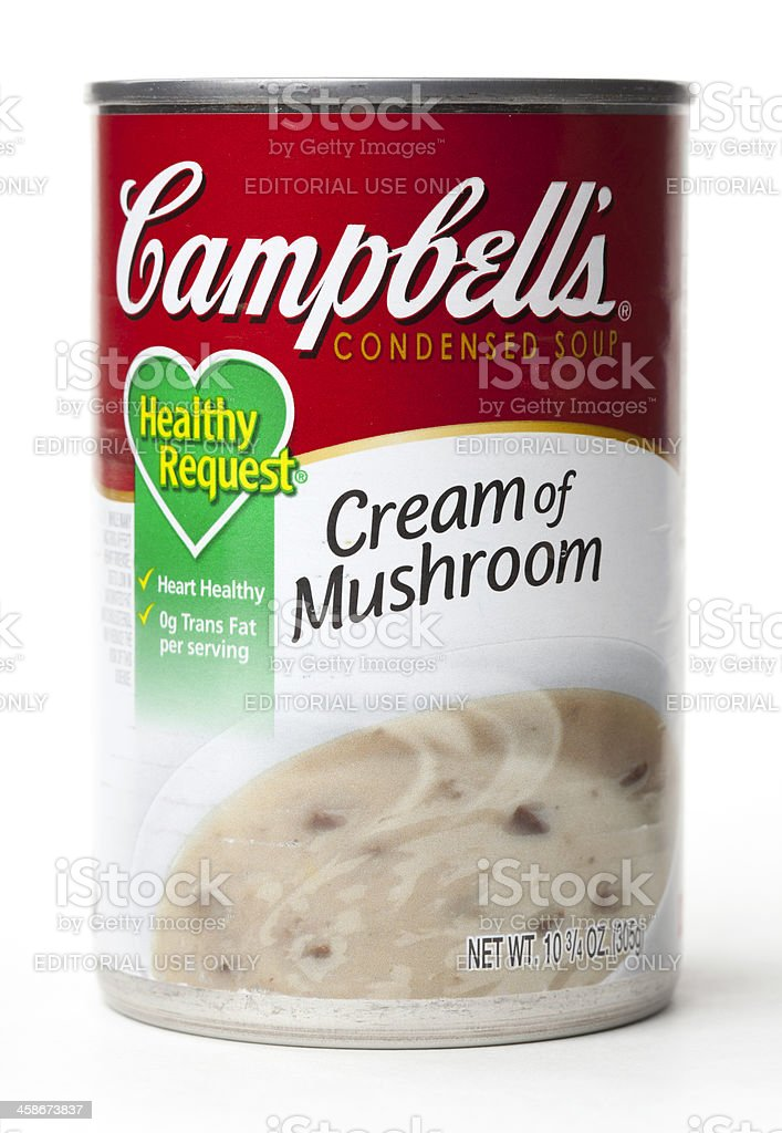 Campbell's Condensed Cream of Mushroom Soup stock photo