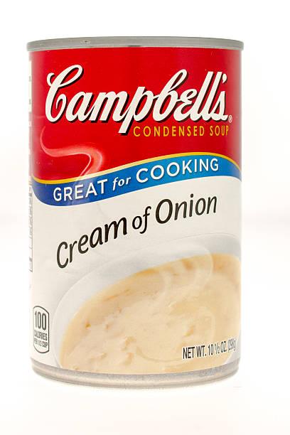 campbells eiscreme von zwiebelsuppe - schnelle suppen stock-fotos und bilder