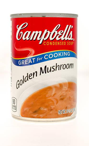 campbells golden pilzcremesuppe - schnelle suppen stock-fotos und bilder