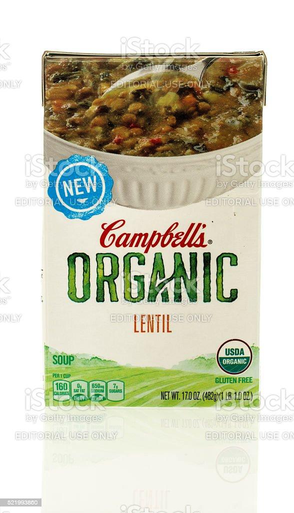 Campbell's Organic Lentil Soup stock photo