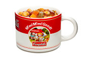 """""""New York, USA - October 22, 2012: A Vintage Campbell's Soup Mug With Soup Inside, Manufactured By The Campbell's Soup Company In America. Mug Isolated On A White Background."""""""