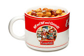 """""""New York, USA - October 22, 2012: A Vintage Campbell's Soup Mug With Soup Inside, Manufactured By The Campbell's Soup Company."""""""