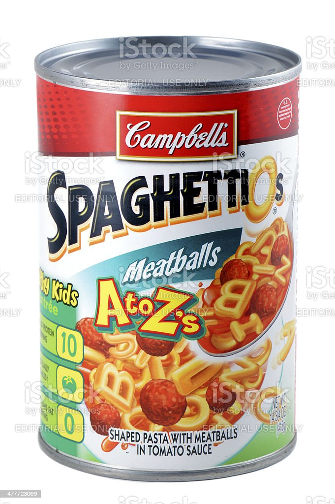 Campbell's SpaghettiOs with Meatballs royalty-free stock photo
