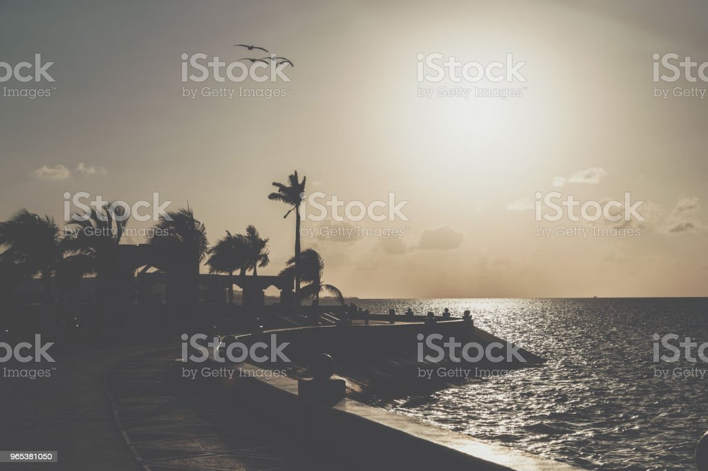 Campeche Malecon and Sea. Treadmill and bicycle path on the waterfront royalty-free stock photo