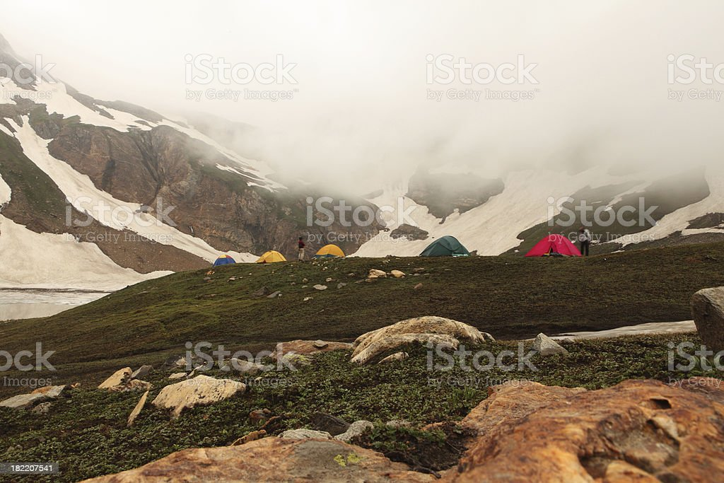 Camped amoungst clouds royalty-free stock photo