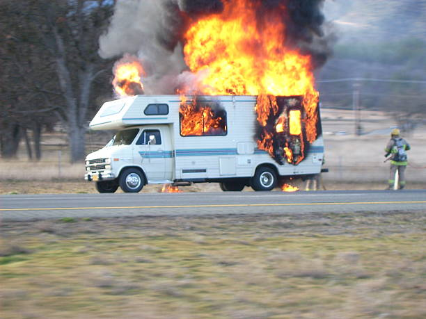 Camper Ablaze A Motorhome driving through southern California on I-5.  No one was injured in this fire. ablaze stock pictures, royalty-free photos & images