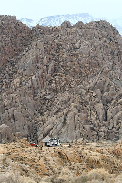Camper Amogst Rocks stock photo