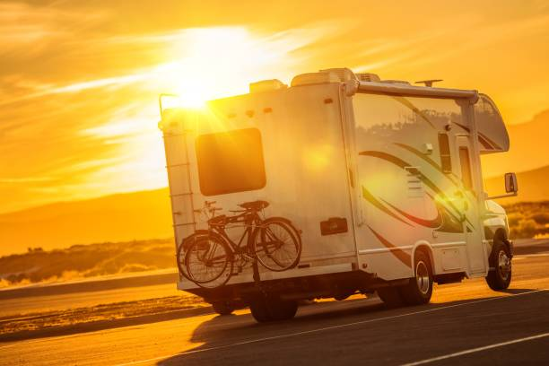 rv camper boondocking - motorhome stock photos and pictures