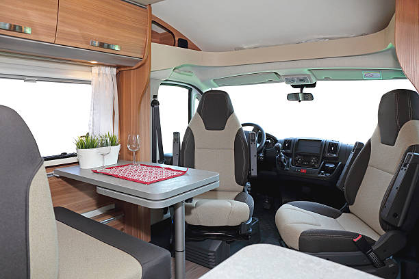 Camper Dining Room Camping van interior cabin with seating for four rv interior stock pictures, royalty-free photos & images