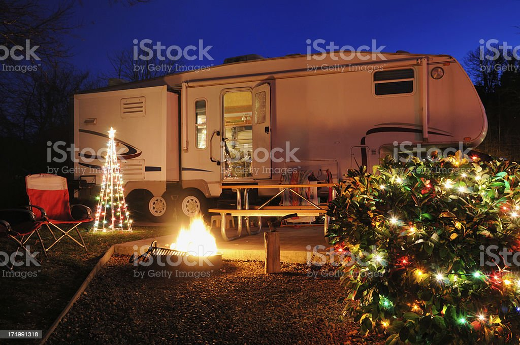 Camper in campsite during Christmas time royalty-free stock photo