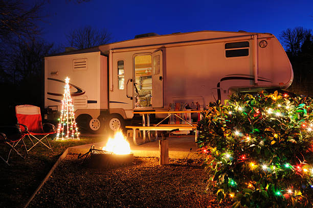 Camper in campsite during Christmas time stock photo