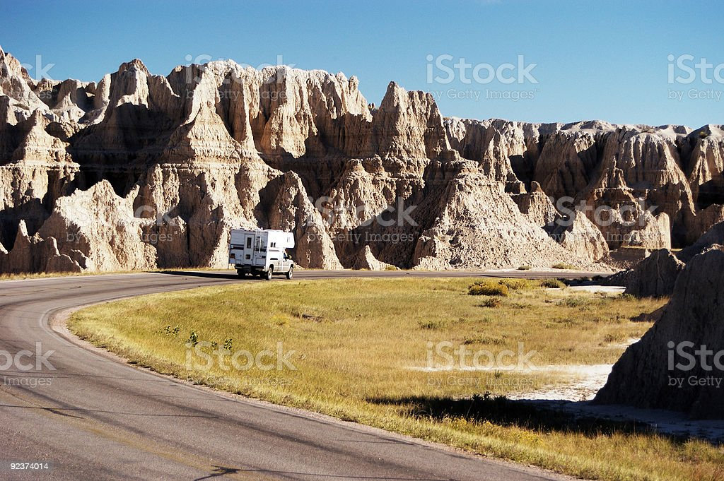 Camper in the Badlands royalty-free stock photo