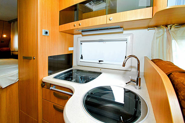 Camper kitchen Interior shot of kitchen in recreation vehicle. rv interior stock pictures, royalty-free photos & images