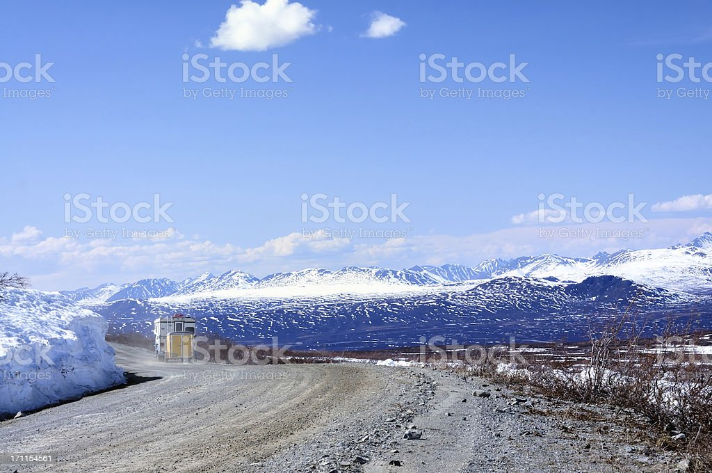 Camper On Denali Highway In Springtime royalty-free stock photo