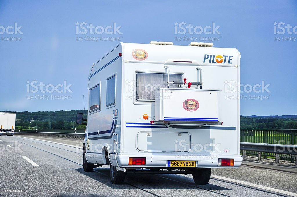 Camper on road royalty-free stock photo