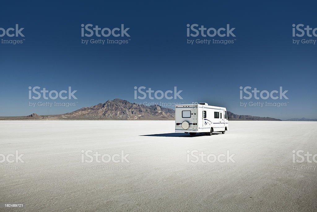 Camper on the Bonneville Salt Flats stock photo
