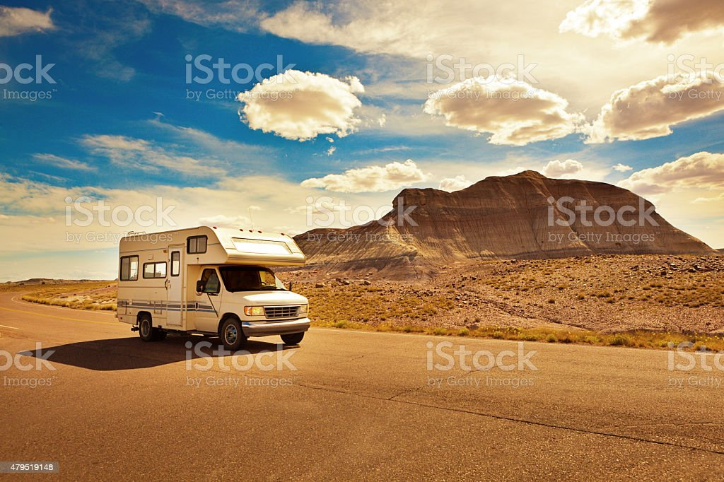 Camper Recreational Vehicle Touring Petrified Forest National Park Arizona, USA stock photo