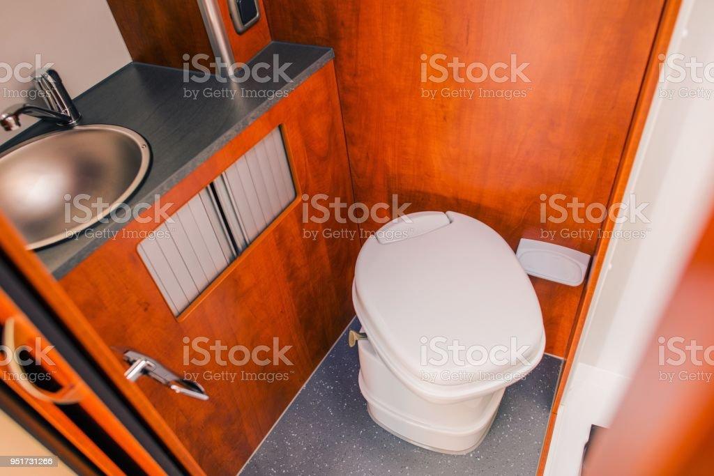 Camper RV Toilet Bathroom stock photo