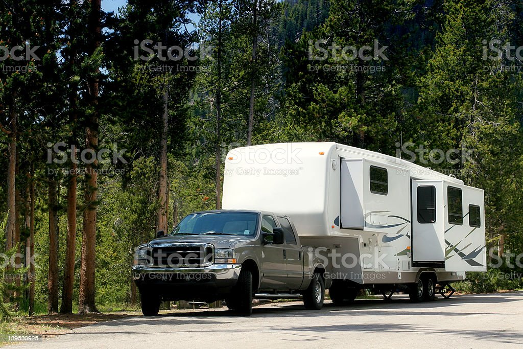 camper trailer in yellowstone stock photo