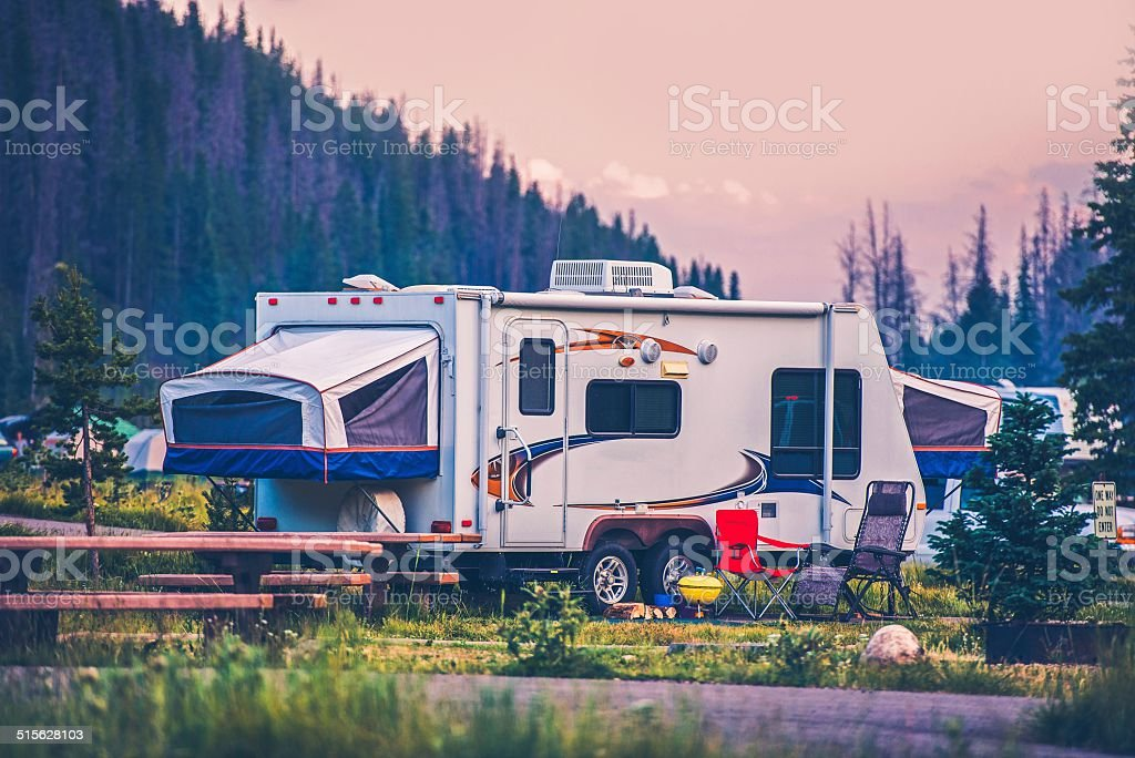 Camper Travel Trailer stock photo