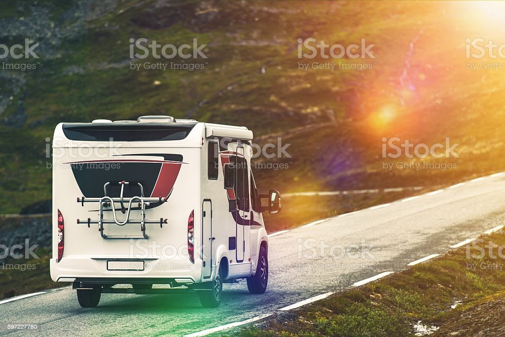 RV Camper Traveling stock photo