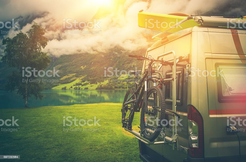 Camper Trip Adventures stock photo