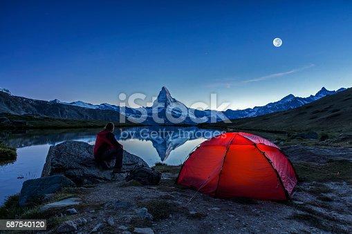 istock Camper under full Moon at Matterhorn 587540120