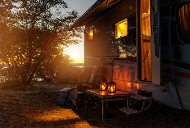 RV Camper Van Camping Warm Night stock photo
